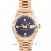 Rolex President 6917 Custom Blue Aventurine 2 Stone Diamond Dial - Yellow Gold - Fluted Bezel On A President Bracelet - Pre-Owned