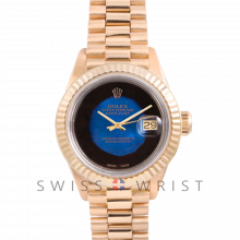 Rolex President 6917 Custom Blue Vignette Dial - Yellow Gold - Fluted Bezel On A President Bracelet - Pre-Owned