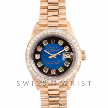 Rolex President 6917 Custom Blue Vignette Rainbow Dial - Yellow Gold - Diamond Bezel On A President Bracelet - Pre-Owned