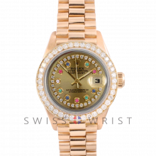 Rolex President 6917 Custom Champagne String Rainbow Dial - Yellow Gold - Diamond Bezel On A President Bracelet - Pre-Owned