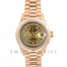 Rolex President 6917 Custom Champagne String Rainbow Dial - Yellow Gold - Fluted Bezel On A President Bracelet - Pre-Owned