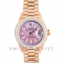Rolex President 6917 Custom Pink Mother of Pearl Baguette Diamond Dial - Yellow Gold - Diamond Bezel On A President Bracelet - Pre-Owned