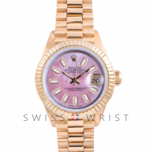 Rolex President 6917 Custom Pink Mother of Pearl Baguette Diamond Dial - Yellow Gold - Fluted Bezel On A President Bracelet - Pre-Owned