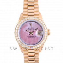 Rolex President 6917 Custom Pink Mother of Pearl Dial - Yellow Gold - Diamond Bezel On A President Bracelet - Pre-Owned