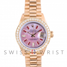 Rolex President 6917 Custom Pink Mother of Pearl 8+2 Ruby and Diamond Dial Dial - Yellow Gold - Diamond Bezel On A President Bracelet - Pre-Owned