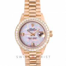 Rolex President 6917 Custom White Opal 2 Stone Diamond Dial - Yellow Gold - Diamond Bezel On A President Bracelet - Pre-Owned