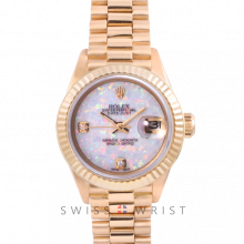 Rolex President 6917 Custom White Opal 2 Stone Diamond Dial - Yellow Gold - Fluted Bezel On A President Bracelet - Pre-Owned