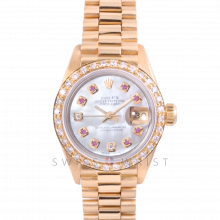 Rolex President 6917 Custom Mother of Pearl 8+2 Ruby and Diamond Dial - Yellow Gold - Diamond Bezel On A President Bracelet - Ladies Pre-Owned Watch