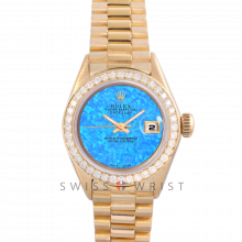 Rolex President 6917 Custom Aqua Opal Dial - Yellow Gold - Diamond Bezel On A President Bracelet - Pre-Owned