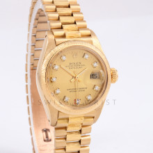 Rolex Datejust 26mm 6927 18K Yellow Gold w/ Champagne Diamond Dial & Fluted Bezel on Presidential Bracelet -Ladies - Box Papers