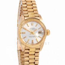 Rolex Datejust 26mm 6927 Yellow Gold w/ Silver Stick Dial & Fluted Bezel on a Bark Presidential Bracelet - Ladies - Box Paper