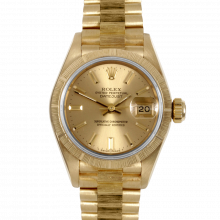 Pre-owned Rolex Ladies Yellow Gold Bark President Watch - Champagne Stick Marker Dial - 69278 Quickset Model