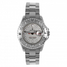 Pre-owned Rolex Ladies Yacht-Master Watch - Stainless Steel And Platinum Rolesium Dial 69622 29MM Model