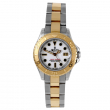 Pre-owned Rolex Ladies Yacht-Master Watch - Two Tone SS/18K With A White Dial 29MM Model 69623
