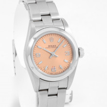 Rolex Oyster Perpetual 24 mm 76080 Stainless Steel w/ Salmon Pink Dial, Smooth Bezel on an Oyster Bracelet - Pre-Owned Ladies Watch