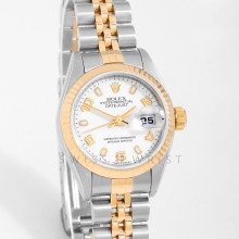 Rolex Datejust 26 mm 79173 Yellow Gold & Stainless Steel, White Dial, Fluted Bezel on a Jubilee Bracelet - Pre-Owned Ladies Watch