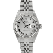 Pre-owned Rolex Ladies Datejust Watch - Stainless Steel With A Factory Pearl Roman Numeral Dial Fluted Bezel On A Jubilee Band Model 79174