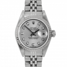 Pre-owned Rolex Ladies Datejust Watch - Stainless Steel With A Factory Silver Diamond Dial - Fluted Bezel On A Jubilee Band Model 79174