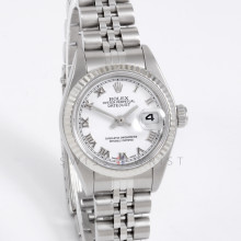 Rolex 79174 Ladies Datejust 26mm White Gold & Stainless Steel w/ White Roman Dial and Fluted Bezel with Jubilee Bracelet - Pre-Owned