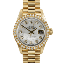 Pre-owned Rolex Ladies Yellow Gold President Watch - Factory White Mother Of Pearl Diamond Dial - Factory Diamond Bezel - 79178 Display Model