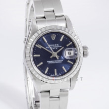 Rolex 79240 Ladies 26 mm Stainless Steel w/ Blue Stick Dial and Engine Turned Bezel with Oyster Bracelet - Pre Owned