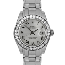 Pre-owned Rolex Ladies Pearlmaster Masterpiece Watch - White Gold With A Factory Mother Of Mother Of Pearl Roman Dial And Full 32 Stone Diamond Bezel 80299