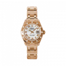 New Rolex Ladies Masterpiece Pearlmaster Watch - 18K Rose Gold Mother of Pearl Roman Dial - 12 Diamond Bezel - Pearlmaster Bracelet 29 MM 80315