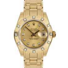 Pre-owned Rolex Ladies Pearlmaster Masterpiece Watch - Yellow Gold With A Factory Champagne Diamond Dial And A 12 Stone Diamond Bezel 80318