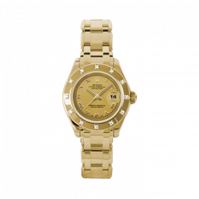 New Rolex Ladies Masterpiece Pearlmaster Watch - 18K Yellow Gold Champagne Roman Dial - 12 Diamond Bezel - Pearlmaster Bracelet 29 MM 80318