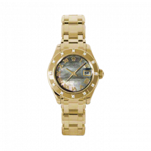 New Rolex Ladies Masterpiece Pearlmaster Watch - 18K Yellow Gold Black Mother of Pearl Roman Dial - 12 Diamond Bezel - Pearlmaster Bracelet 29 MM 80318