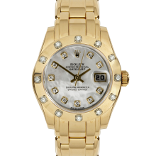 Pre-owned Rolex Ladies Pearlmaster Masterpiece Watch - Yellow Gold With A Factory Mother Of Pearl Diamond Dial And A 12 Stone Diamond Bezel 80318