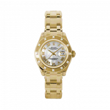 New Rolex Ladies Masterpiece Pearlmaster Watch - 18K Yellow Gold Mother of Pearl Roman Dial - 12 Diamond Bezel - Pearlmaster Bracelet 29 MM 80318