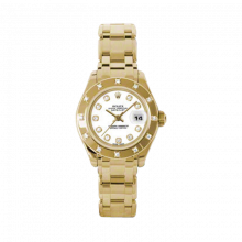 New Rolex Ladies Masterpiece Pearlmaster Watch - 18K Yellow Gold White Diamond Dial - 12 Diamond Bezel - Pearlmaster Bracelet 29 MM 80318