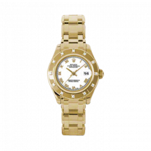 New Rolex Ladies Masterpiece Pearlmaster Watch - 18K Yellow Gold White Roman Dial - 12 Diamond Bezel - Pearlmaster Bracelet 29 MM 80318