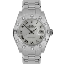 Pre-owned Rolex Ladies Pearlmaster Masterpiece Watch - White Gold With A Factory Mother Of Mother Of Pearl Roman Dial And 12 Stone Diamond Bezel 80319