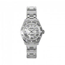 New Rolex Ladies Masterpiece Pearlmaster Watch - 18K White Gold Mother of Pearl Roman Dial - 12 Diamond Bezel - Pearlmaster Bracelet 29 MM 80319
