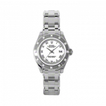 New Rolex Ladies Masterpiece Pearlmaster Watch - 18K White Gold White Roman Dial - 12 Diamond Bezel - Pearlmaster Bracelet 29 MM 80319