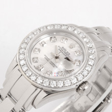 Rolex 80329 Pearlmaster 29 Lady Datejust 18K White Gold w/ Custom Mother of Pearl Diamond Dial & Diamond Bezel on Pearlmaster Bracelet - Pre-Owned Watch