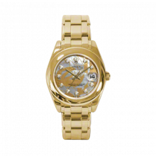New Rolex Mens Masterpiece Watch - 18K Yellow Gold Goldust Dream Mother of Pearl Diamond Dial - Smooth/Domed Bezel - Pearlmaster Bracelet 34 MM 81208
