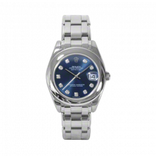 New Rolex Mens Masterpiece Watch - 18K White Gold Blue Diamond Dial - Smooth/Domed Bezel - Pearlmaster Bracelet 34 MM 81209