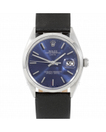 Rolex Date 34 1500 Stainless Steel,  Blue Stick Dial, Smooth Bezel On Black Leather Strap, Men's Pre-Owned Watch