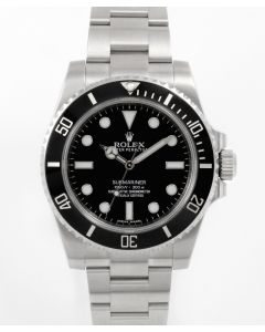 Pre-Owned Rolex Men's Submariner Watch - No Date Black Dial - 60 Minute Ceramic Bezel - Oyster Bracelet 40 MM 114060