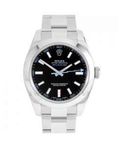 Rolex Milgauss 116400 Stainless Steel, Custom Black Dial & Blue Markers, Smooth Bezel On Oyster Bracelet, Men's Pre-Owned Watch