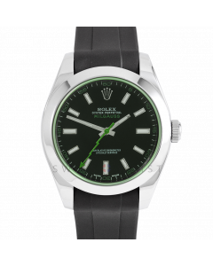 Rolex Milgauss 116400 Stainless Steel, Custom Black Dial & Green Markers, Smooth Bezel On Rubber Strap, Men's Pre-Owned Watch