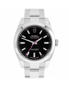 Rolex Milgauss 116400 Stainless Steel, Custom Black Dial & Pink Markers, Smooth Bezel On Oyster Bracelet, Men's Pre-Owned Watch