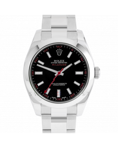 Rolex Milgauss 116400 Stainless Steel, Custom Black Dial & Red Markers, Smooth Bezel On Oyster Bracelet, Men's Pre-Owned Watch