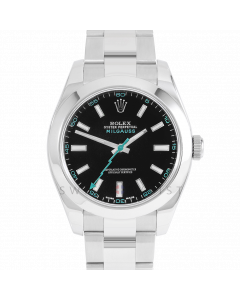 Rolex Milgauss 116400 Stainless Steel, Custom Black Dial & Turquoise Markers, Smooth Bezel On Oyster Bracelet, Men's Pre-Owned Watch