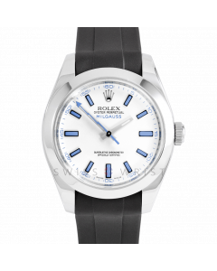Rolex Milgauss 116400 Stainless Steel, Custom White Dial & Blue Markers, Smooth Bezel OnRubber Strap, Men's Pre-Owned Watch