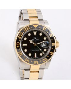 Rolex GMT-Master II 116713 LN 18K Yellow Gold & Stainless Steel, Black Cerachrom / Ceramic Bezel on an Oyster Bracelet - Pre-Owned Watch