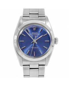 Rolex Airking 34 5500 Stainless Steel, Blue Stick Dial, Smooth Bezel On Oyster Bracelet, Men's Pre-Owned Watch